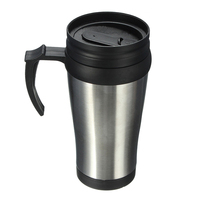Нержавеющаясталь Автомобильные путешествия стакан воды Кофе Чай чашка 450 мл серебро + черный