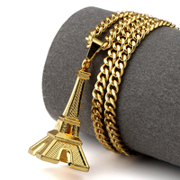 NYUKI Fashion 18K Gold Plated Eiffel Tower Necklace Romantic Necklaces Pendants Women Gifts Vintage Jewellery With