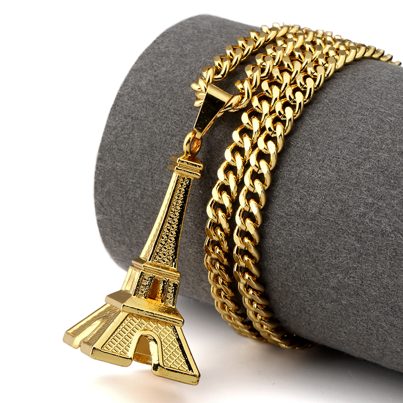 NYUK Fashion Hip Hop Gold Eiffel Tower Necklace Romantic Necklaces & Pendants Women Gift Vintage Fashion Jewellery With Gift Box