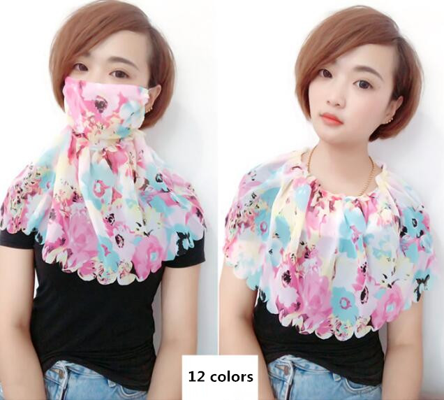 Women's Spring Summer Big Sunscreen Cotton Lining Mask Sunscreen Silk Scarf Lady's PM 2.5 Breathable Riding Mouth-muffle R832