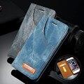 Cajas del teléfono de cuero para iphone 6 6 s 6 6 s plus caso retro los pantalones vaqueros del patrón para iphone 6 s 6 plus flip titular de la tarjeta soporte cubierta