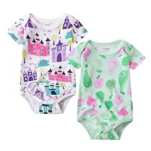 2 pcs set Tender Babies Baby triangle dress thin section newborn short-sleeved bag fart cotton jumpsuit Haxia