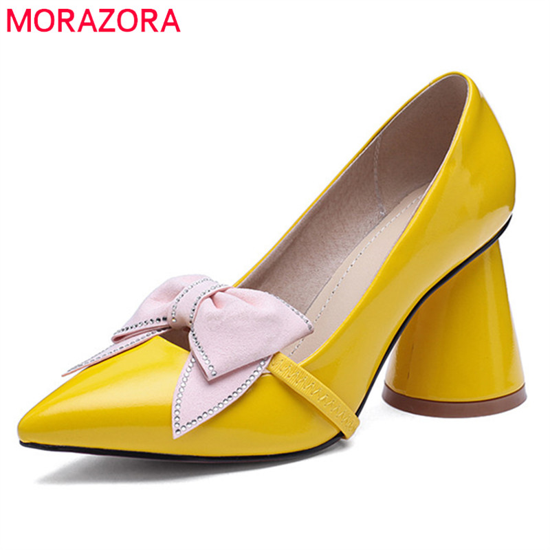 MORAZORA 2019 solid colors women pumps bowknot slip on spring summer shoes pointed toe high heels