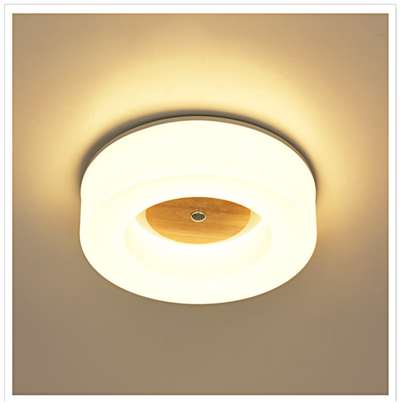 Modern Nordic Logs Acrylic Living Room LED Ceiling Lamp Round Bedroom Balcony Study Coffee Shop Solid Wood Light Free Shipping nordic simple round acrylic bedroom led ceiling lamp modern kitchen balcony corridor aisle cafe living room lamp free shipping