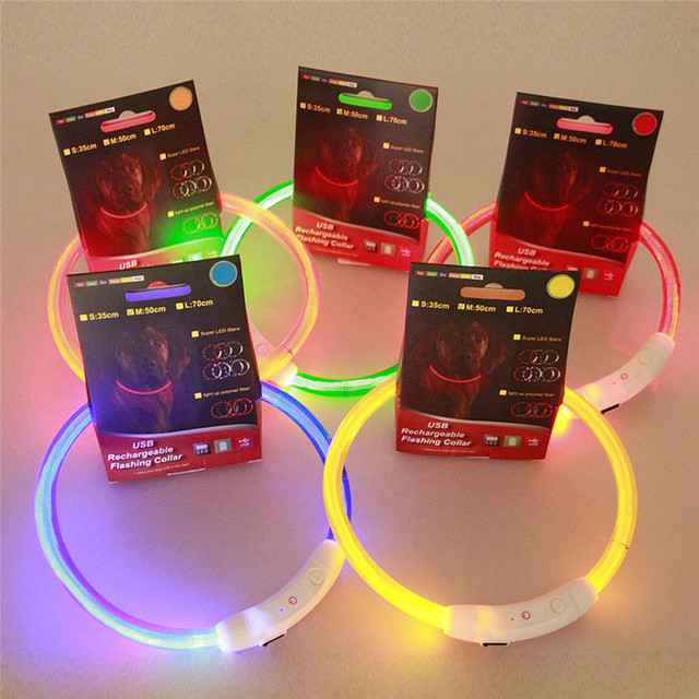 Rechargeable  Puppy Collar USB LED Flashing Light Band Belt Safety Pet Dog Collar