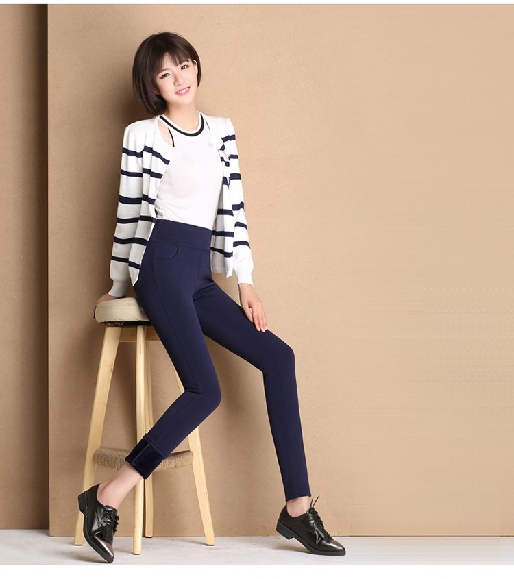 Thicken Warm Plus Velvet Women Trousers 16 Winter Black Red Blue High Waist Stretch Pencil Pants Female Fleece Office Pantalon 12