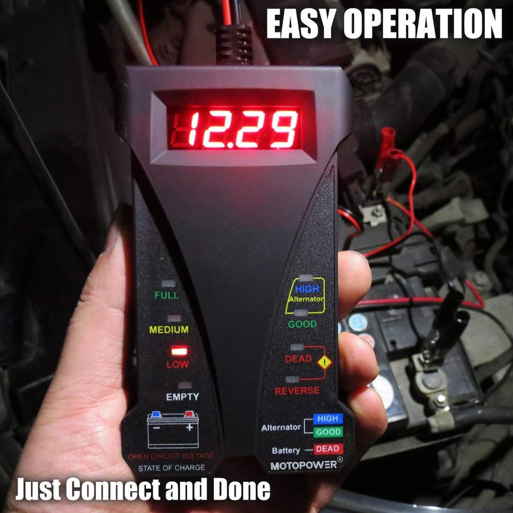 MOTOPOWER MP0514A LCD ve LED ekranlı 12 V Dijital Araç Akü Test - Araba Parçaları - Fotoğraf 6