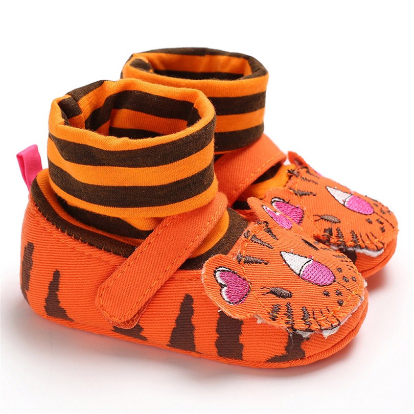 Infant Baby Boys Girls Three-dimensional Cartoon Tiger Embroidery Boots Newborn Winter Striped Warm Socks Shoes 0-18 Month A20