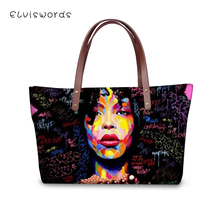 ELVISWORDS African Girls Afro Art Purses and Handbags Ladies Large Messenger Bag Women's Big Shoulder Bag Female Tote Bag Zipper цены онлайн