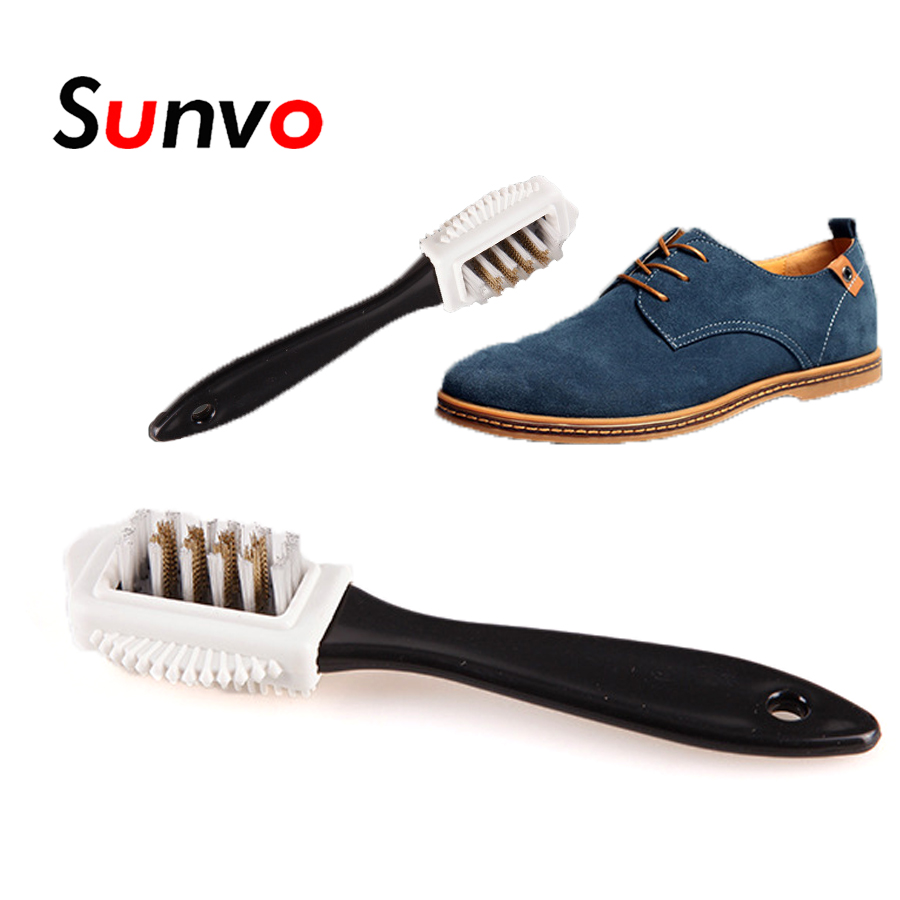 3 Side Shoe Brush For Cleaning Boot Suede Nubuck Shoes Cleaner Black Handle Rubber Eraser Brushes Polish Polishing Accessories