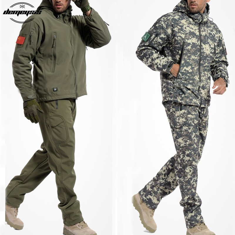 Tactical Jacket Softshell Waterproof Windproof Jackets Army Camouflage Outdoor Sport Hiking Outerwear Clothing