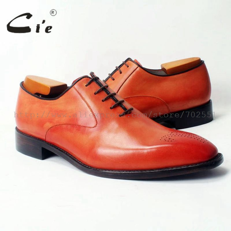 cie Square Toe Lace-Up Plain Oxfords Hand-Painted Orange 100%Genuine Calf Leather Outsole Breathable Men's Leather Shoe OX310 tommy hilfiger tommy girl jeans