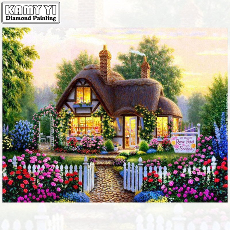 Daimond Painting Cross-switch Garden Bungalo 3D Diamond Painting Rhinestones Painting Embroidery Gift For Children Home Mural ZH