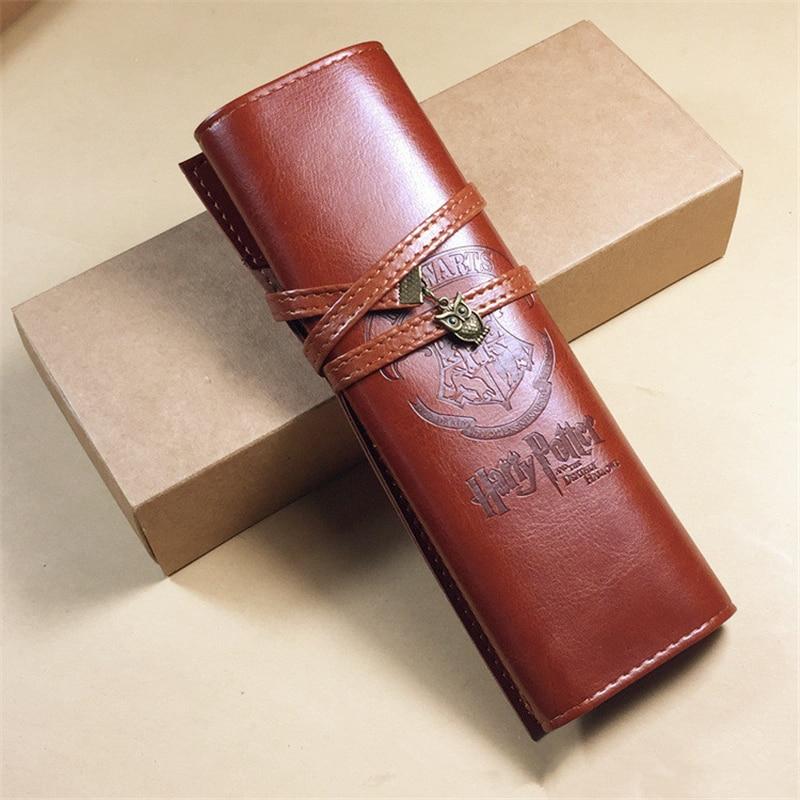 Harry Potter Hogwarts School Of Magic Badge Leather Pencil Bag Vintage Owl Gift Gift For Men And Women