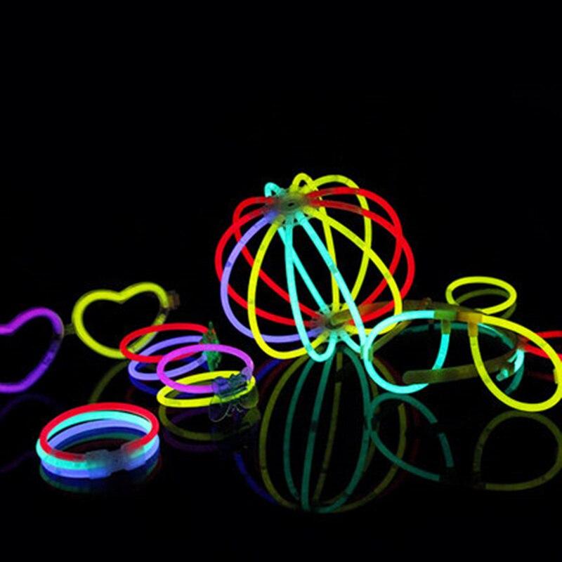 100pcs Mix Color Glow Stick Luminous Toys Led Glasses Necklace Bracelets Fluorescent Festival Neon Party Supplies Concert Decor in Glow Party Supplies from Home Garden
