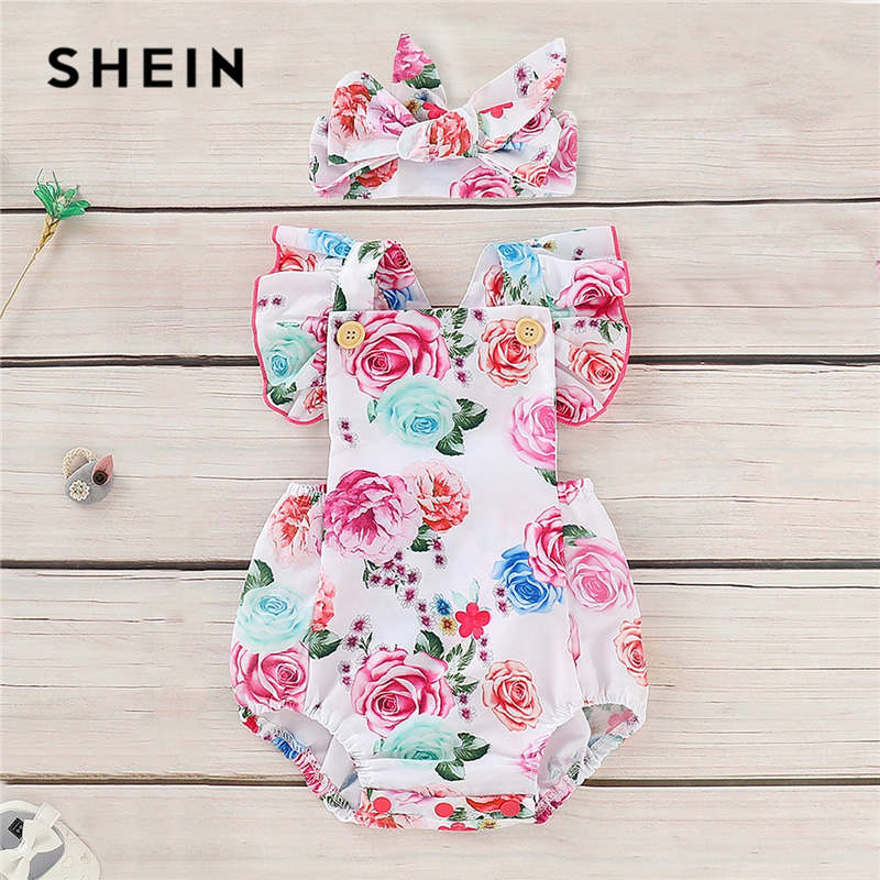 SHEIN Kiddie Toddler Girl Baby Floral Print Ruffle Straps Jumpsuit With Headband 2019 Summer Newborn BabyShort Jumpsuits 2017 baby summer romper short sleeve auntie loves me letter printed newborn baby boy girl jumpsuit one pieces clothes 0 18m