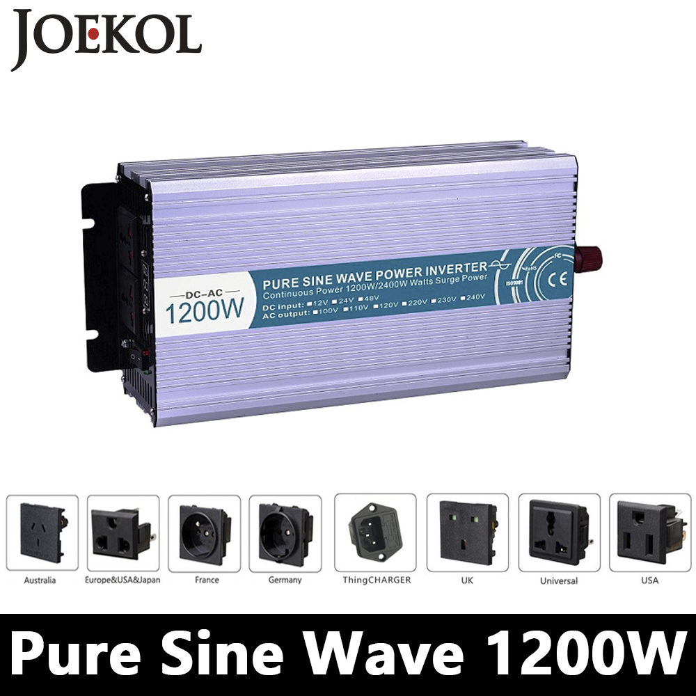 1200W Pure Sine Wave Inverter,DC 12V/24V/48V To AC 110V/220V,off Grid Solar Power Inverter,voltage Converter For Home Battery free shipping 600w wind grid tie inverter with lcd data for 12v 24v ac wind turbine 90 260vac no need controller and battery
