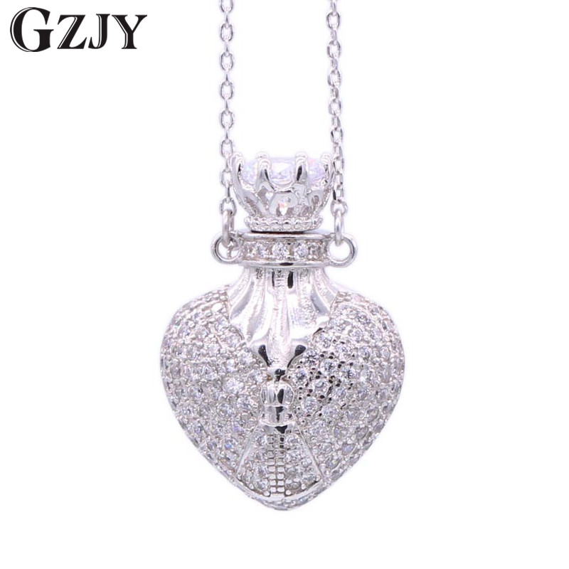 GZJY Charming White Gold Color Perfume Bottle Chain Necklace Zircon Necklace For Women Fashion Jewelry Birthday Present