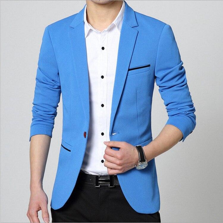 2020 Autumn New Men's Blazer Coat Business Casual Fashion Blue Slim Fit Suit Male Brand Clothing 5