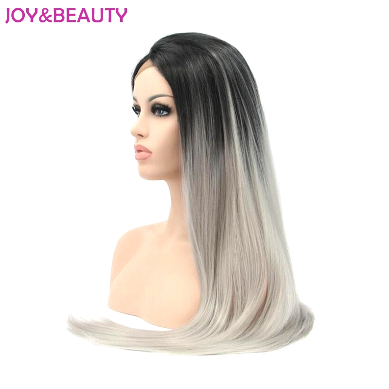 JOY&BEAUTY Heat Resistant Hair Long Straight Lace Front Wig Synthetic Hair Wig Black Ombre Gray Two Tones For Women Wigs 26inch