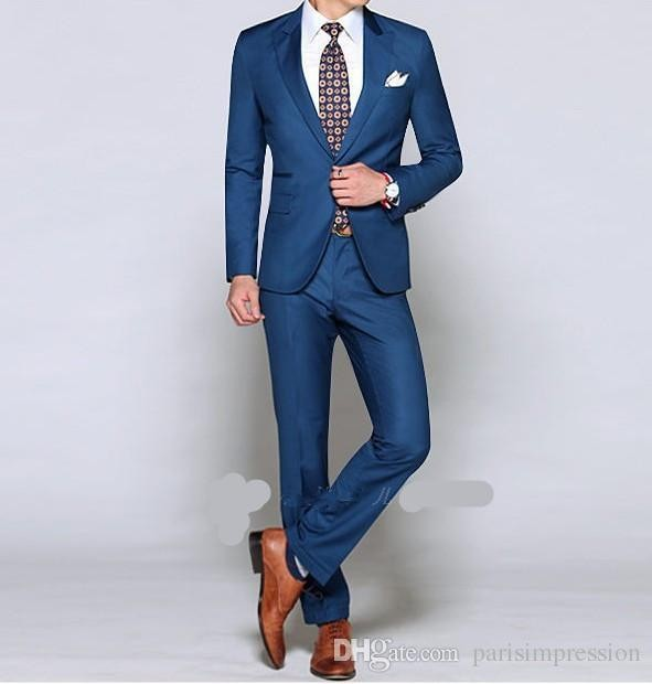 Customize a button groom dress shiny blue suit wedding suits groom ...