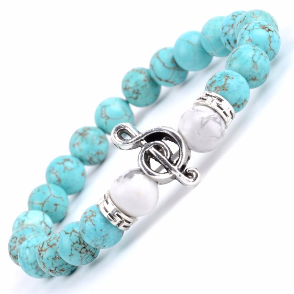 Natural Blue Turquoises Stone Beaded Bracelet Men Boho Musical Note Charm Bracelets For Women Friendship Jewelry