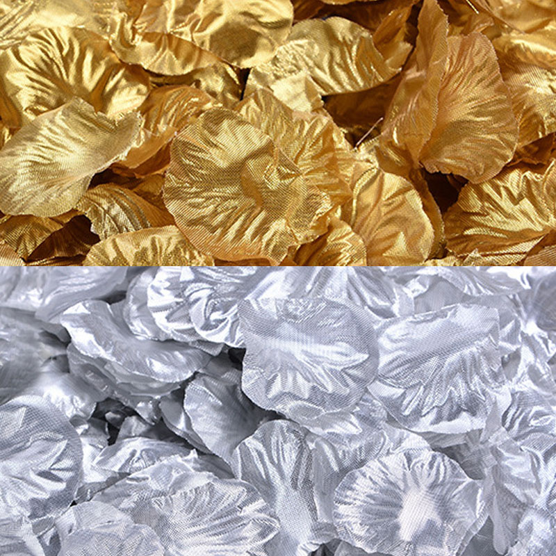 4 Bags 400pcs Gold Silver Silk Artificial Flower Rose Petals Leaves Wedding Party DecorValentine's Day Bedroom Table Decor