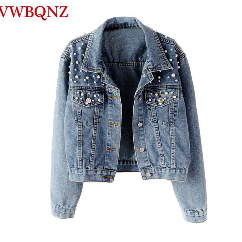 Women's   Basic   Outerwear Loose Long Sleeve Beading Vintage Jeans   Jacket   Single Breasted Female Casual Denim Cool Coat Student Top