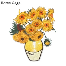 Homegaga Van gogh Sunflowers Jacket big size Patches Embroidered Iron On Accessory New Arrival cosplay clothing Stickers D1746