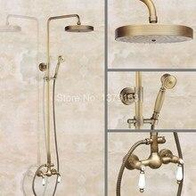 Bathroom Dual Ceramics Handles Antique Brass Wall Mounted Round Shower Head Rain & Hand Shower Faucet Mixer Tap Set aan114