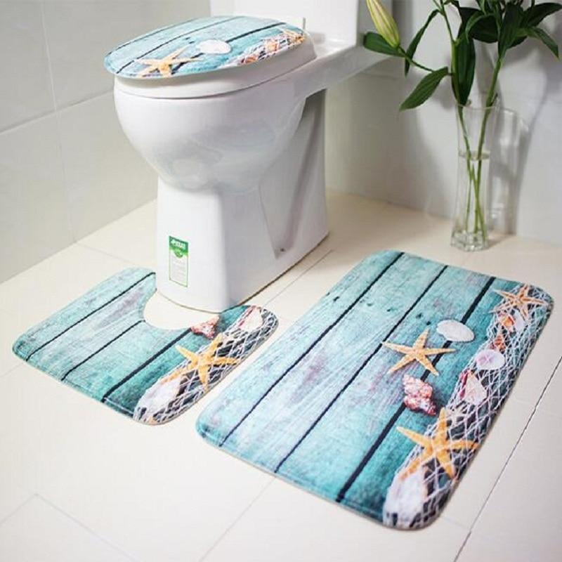 3Pcs Bath Mats Ocean Underwater World Anti Slip Toilet Pattern Carpet Bathroom Mat Flannel Toilet Mat for Three Sets of Bath Mat