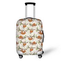 THIKIN Cute Sloth Cartoon Travel Suitcase Protective Cover Thick Elastic Trolley Case 3D Animal Luggage Protection Case Custom
