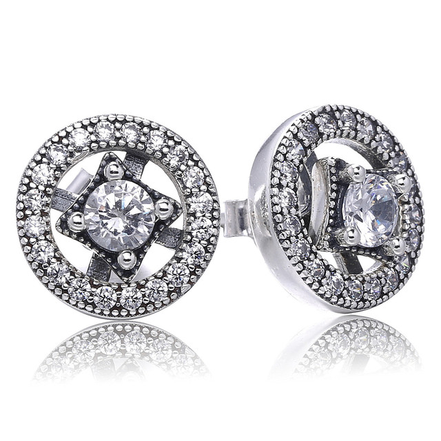 5d4ef5938 Real 925 Sterling Silver Original Vintage Allure Pandora Stud Earrings With  Clear Cubic Zirconia For Women Gift Jewelry 290721CZ