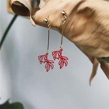 Cute New Year Earrings Carton Gold Koi Fish Drop Pendant Long Funny Christmas Creative Fashion Jewelry