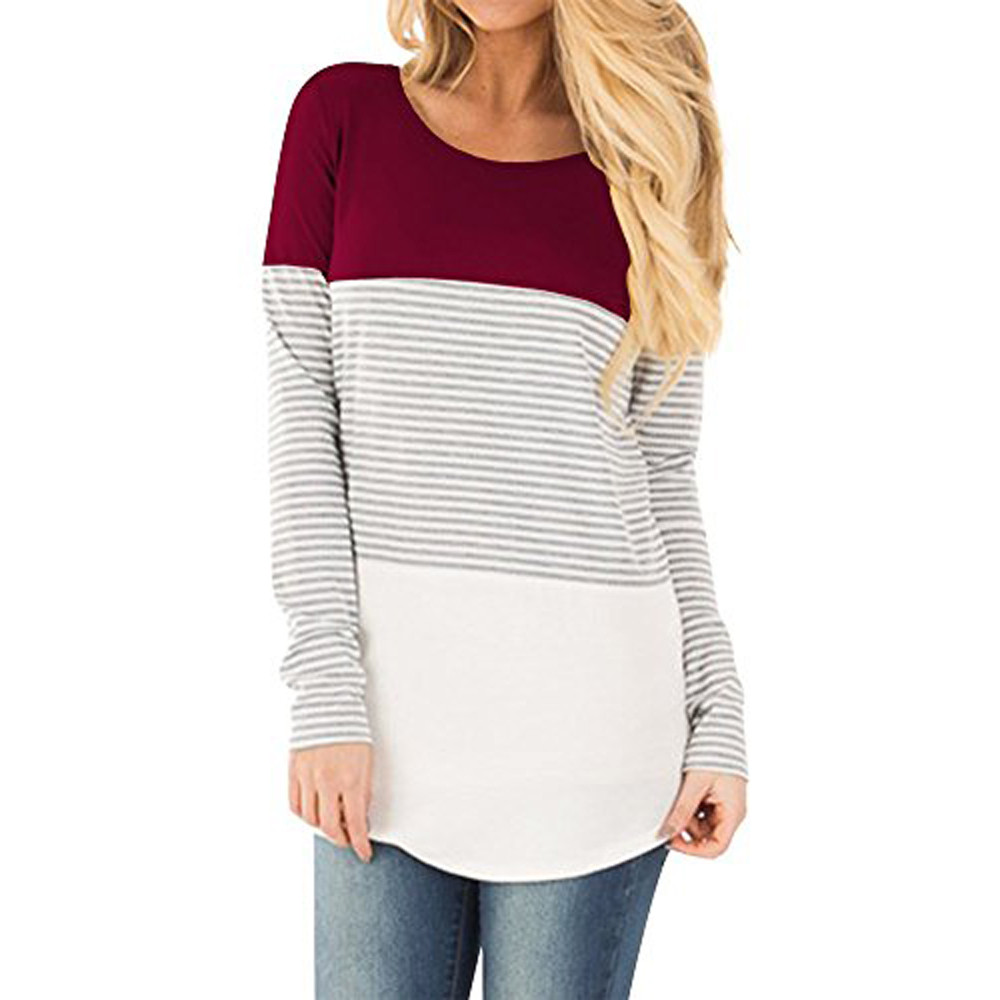 Free Ostrich T Shirt Women Casual Long Sleeve Striped Patchwork Tops Loose Female Tracksuits Casual Round Neck C1435