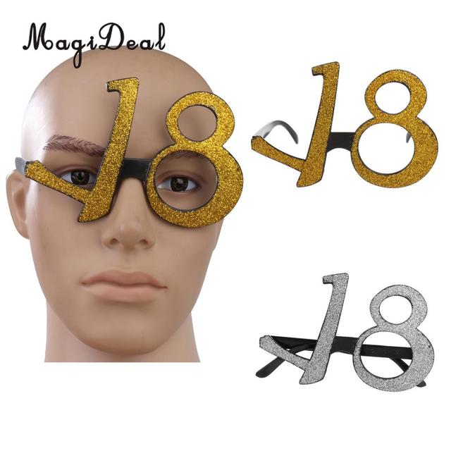 996f21dd25b MagiDeal Novelty Age18 Birthday Party Glitter Glasses Eyeglasses 18th  Silver Gold