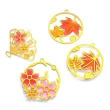 Crystal Epoxy Filled DIY Metal Frame Flower Piece UV Glue Filling Bookmark Pendant Making Mold 4 Pcs