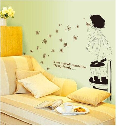 Dandelion Flower Home Decor Wall Sticker Diy Vinyl Poster Photo Wallpaper Novelty Households Bathroom Mirror Mural