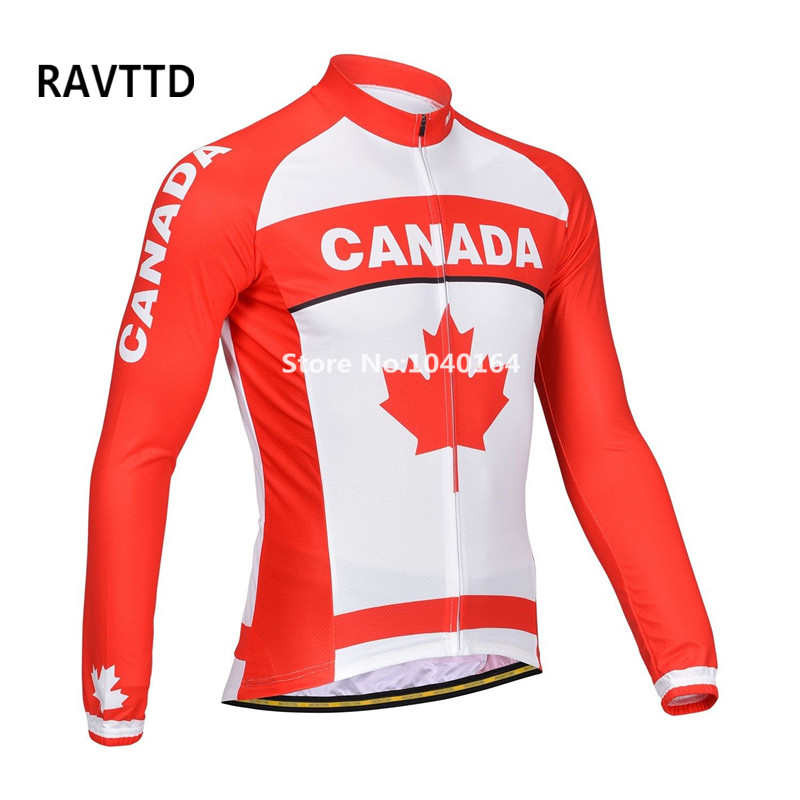 Canada Cycling Jerseys 100% Polyester Breathable Long Sleeve Bike Bicycle Clothing Ropa Ciclismo Top 2016 new men s cycling jerseys top sleeve blue and white waves bicycle shirt white bike top breathable cycling top ilpaladin