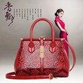 Ladies handbags New embossed flowers bag Fashion shoulder bag diagonal package Chinese wind handbag Simple messenger bags