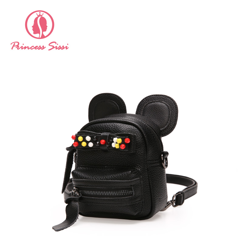Princess Sissi Mini Fashion Woman Back Pack Black Gray Gold Backpack PU Leather Small Backpack College