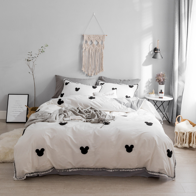 2018 Mouse Bedding Set gray pink white Washed cotton Duvet Cover Sheet Bed Cover Queen King Size Beddings For girls2018 Mouse Bedding Set gray pink white Washed cotton Duvet Cover Sheet Bed Cover Queen King Size Beddings For girls