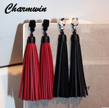 Charmwim Exaggerated Zircon Long Leather Tassel Earrings Fashion Brand Red And Black Crystal Dangle Earrings Women's Jewelry