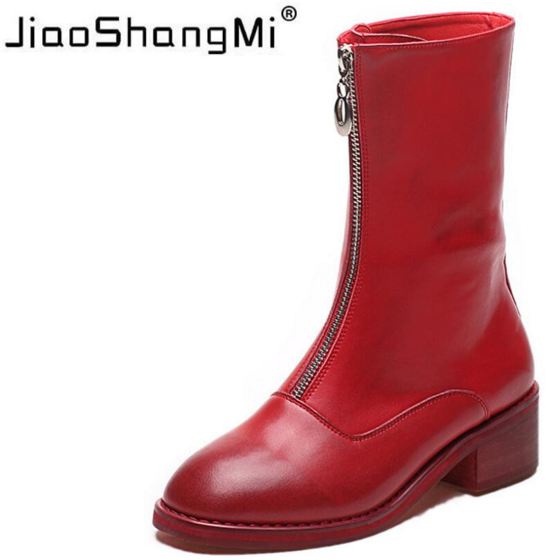 Red Women's Boots 2017 New Zip Women's Mid-calf Boots PU Leather Round Toe Flat Heel Motorcycle Boots Autumn Women's Shoes 2017 latest men s mid calf boots genuine leather buckle strap round toe men s leather shoes chakku motorcycle boots