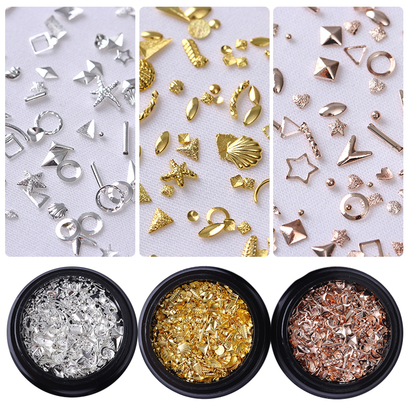 Rose Gold Star Shell Nail Studs Rivet Round Square Triangle Ocean Tips Manicure 3D Nail Art Decorations 100pcs pack gold nail art decorations 3d metal nails studs trinket heart triangle round horse eye manicure accessories tools