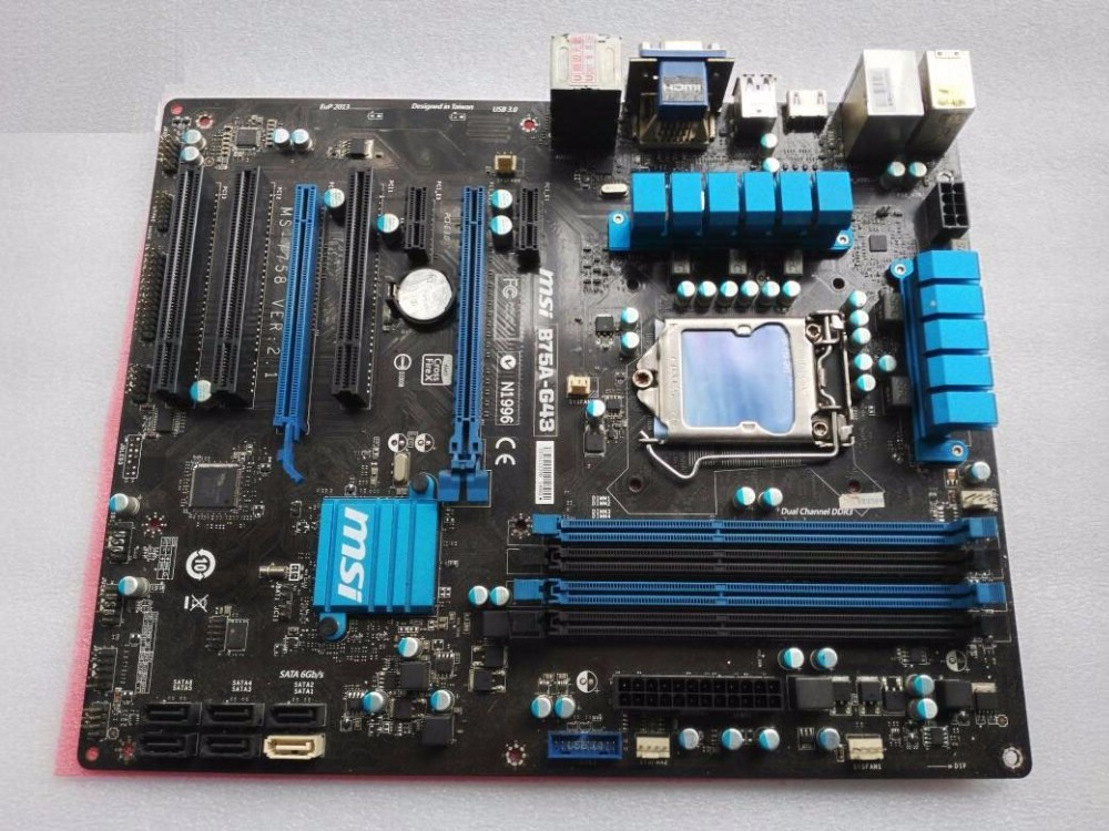 все цены на Free shipping original Desktop motherboards for MSI B75A-G43 DDR3 LGA1155 mainboard USB2.0 VGA HDM DVI SATAIII SATAII B75 boards онлайн