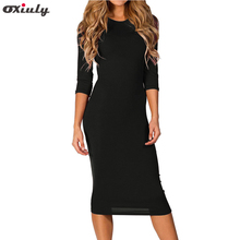 Oxiuly Women Basic Bodycon Sexy Dress 2018 Spring O-neck Half Sleeve Pencil Package Hip Knee-Length Sheath Vestidos Green