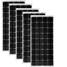 Solar Panel 12v 100W 5Pcs Modules 500w 60v System Off Grid Caravan Car Camp Motorhome RV Boat Yacht Marine