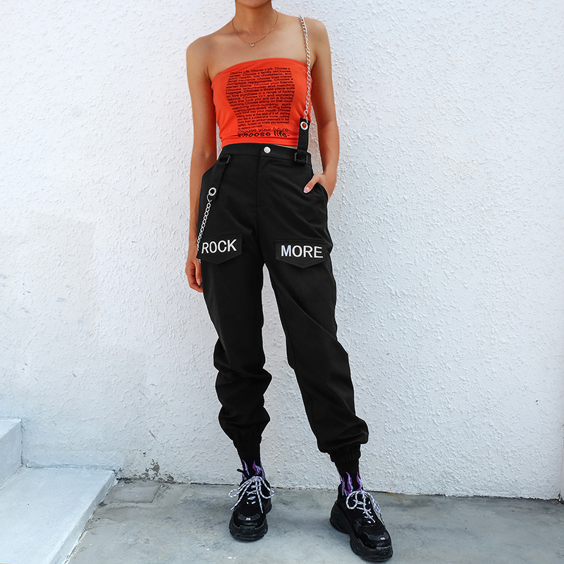 SUCHCUTE Hip Hop Chains Patchwork Letter Embroidery   Pants   Women Elastic High Waist Black Track   Pants     Capris   Trousers Female