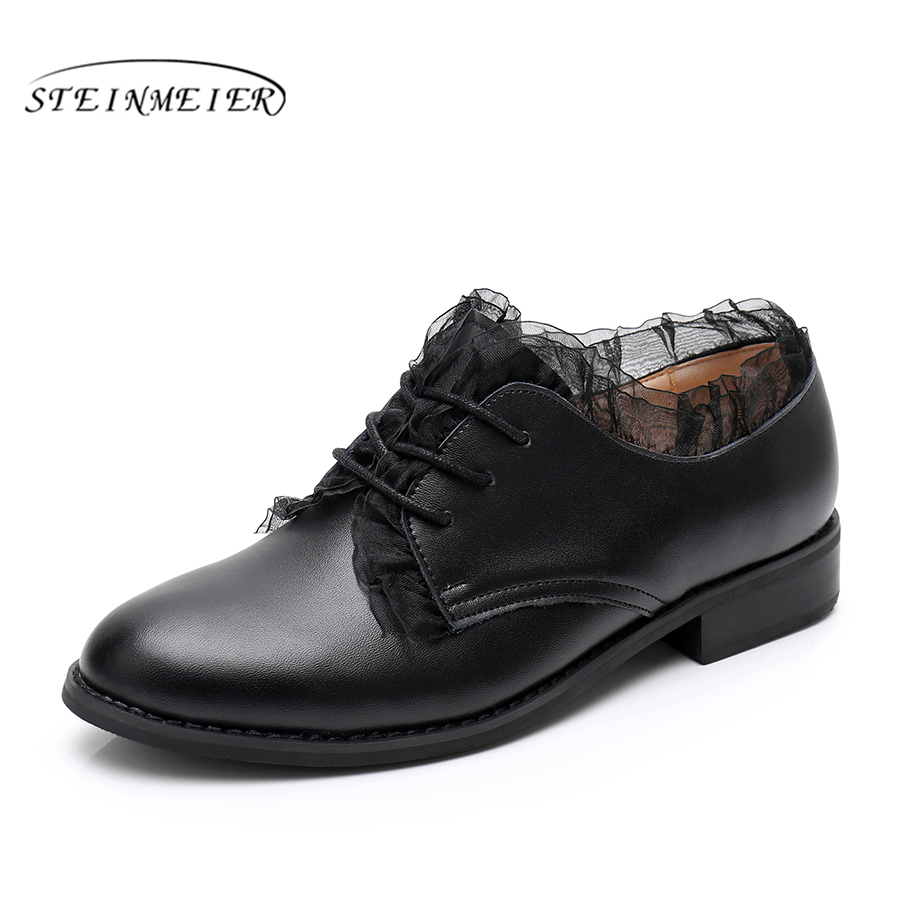 100% Genuine cow leather casual designer vintage lady flats shoes handmade black oxford shoes for women 2018 with fur 100% genuine cow leather brogue casual designer vintage lady flats shoes handmade oxford shoes for women with fur brown